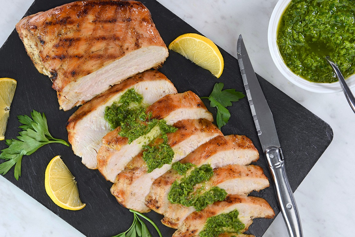 Brazilian Style Grilled Turkey Breast with Salsa Verde