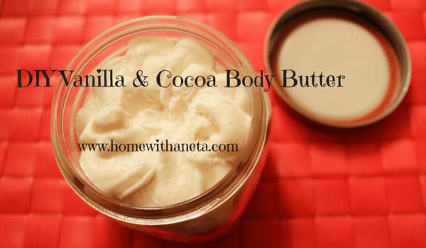 DIY vanilla & cocoa body butter