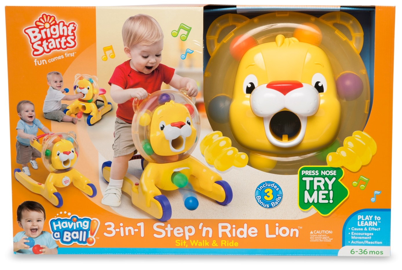 Bright Starts 3-in-1 Step n' Ride Lion