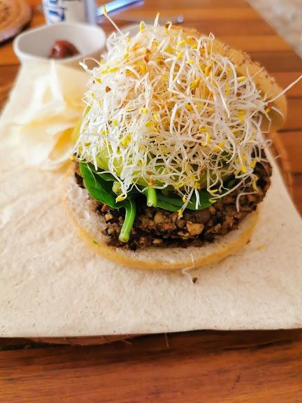 Veggie burger at Bio restaurant